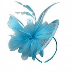 Chapeau mariage Chapeau de mariage en sisal et plumes turquoise