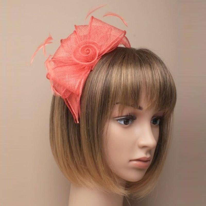 Chapeau mariage Accessoire de coiffure orange corail