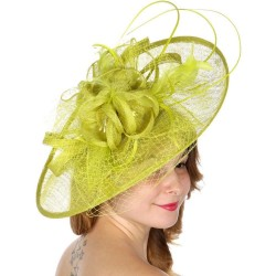 Chapeau mariage Grand chapeau de cérémonie vert anis