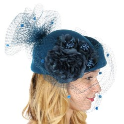 Chapeau feutre voilette et fleurs bleu
