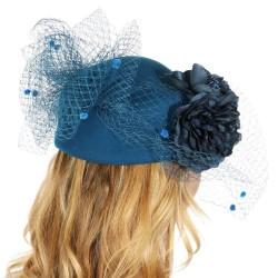 Chapeau mariage Chapeau feutre voilette et fleurs bleu