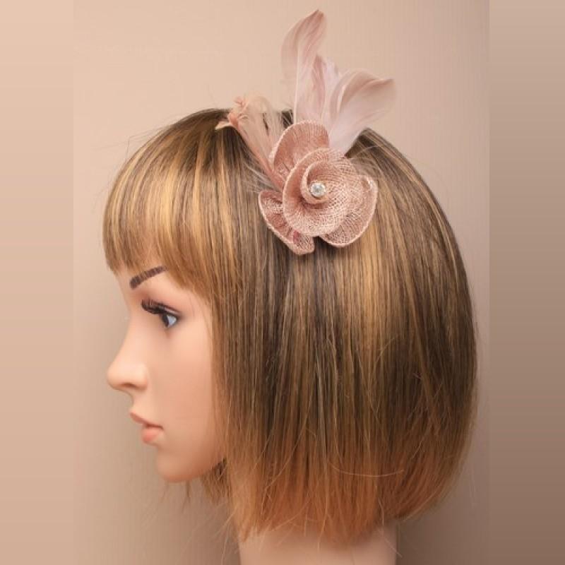 Chapeau mariage Petit accessoire de coiffure strass marron