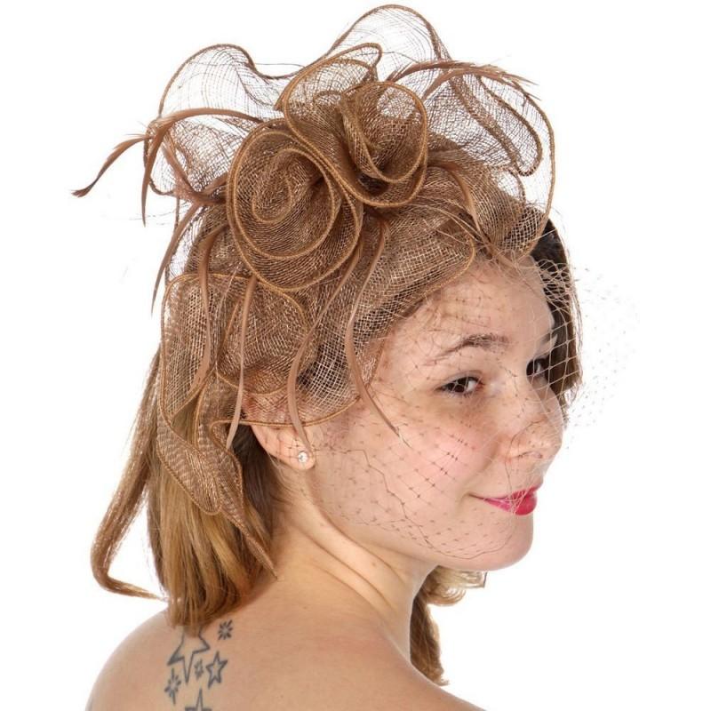 Chapeau mariage Bibi coiffure en sisal marron taupe