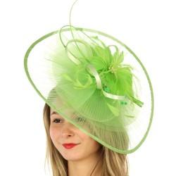 Chapeau mariage Grand chapeau de cérémonie plissé vert anis
