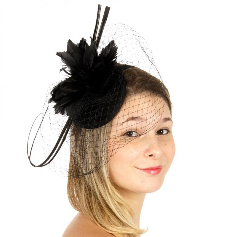 Chapeau mariage Bibi de cérémonie feutre et voilette noir