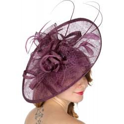 Chapeau mariage Grand chapeau de cérémonie violet mauve
