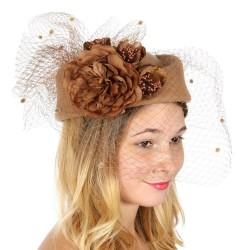 Chapeau mariage Chapeau feutre voilette et fleurs camel