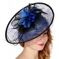 Chapeau mariage Chapeau bicolore noir et bleu