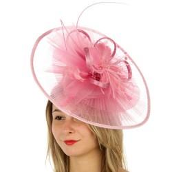 Grand chapeau de cérémonie plissé rose