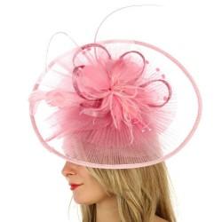 Chapeau mariage Grand chapeau de cérémonie plissé rose