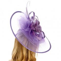 Grand chapeau de cérémonie plissé mauve lilas