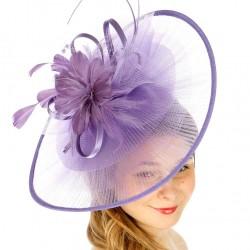 Chapeau mariage Grand chapeau de cérémonie plissé mauve lilas