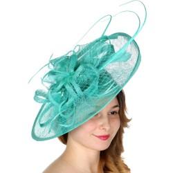 Chapeau mariage Grand chapeau de cérémonie vert
