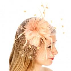 Chapeau mariage Bibi fleur et voilette peche abricot