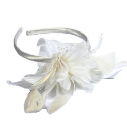 Chapeau mariage Headband fleur satin ivoire