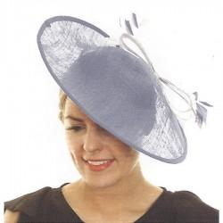 Chapeau mariage Chapeau de ceremonie bleu gris