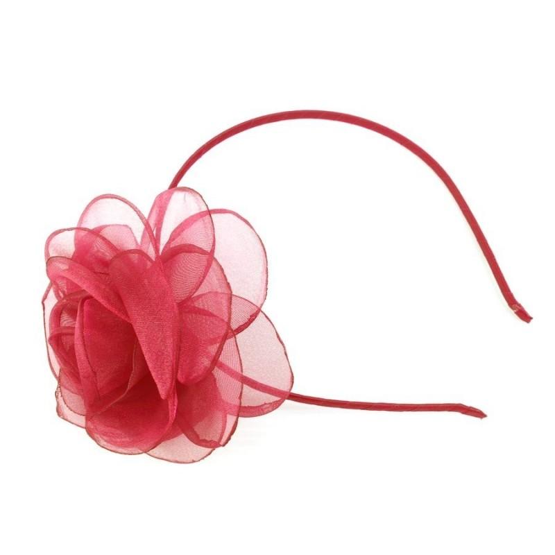 Chapeau mariage Headband fleur voile organza rouge