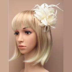 Chapeau mariage Accessoire cheveux fleur ivoire et perles