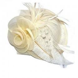 Chapeau mariage Chapeau de cérémonie fleur plumes sisal ivoire