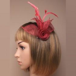 Chapeau mariage Accessoire cheveux ou broche rouge foncé bordeaux