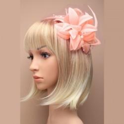 Chapeau mariage Accessoire cheveux fleur saumon peche et perles