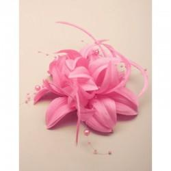 Chapeau mariage Accessoire cheveux fleur rose et perles