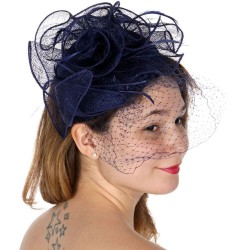 Chapeau mariage Bibi coiffure en sisal bleu marine