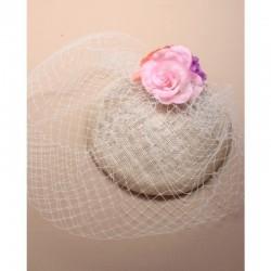 Chapeau mariage Bibi de mariage ivoire voilette et fleurs