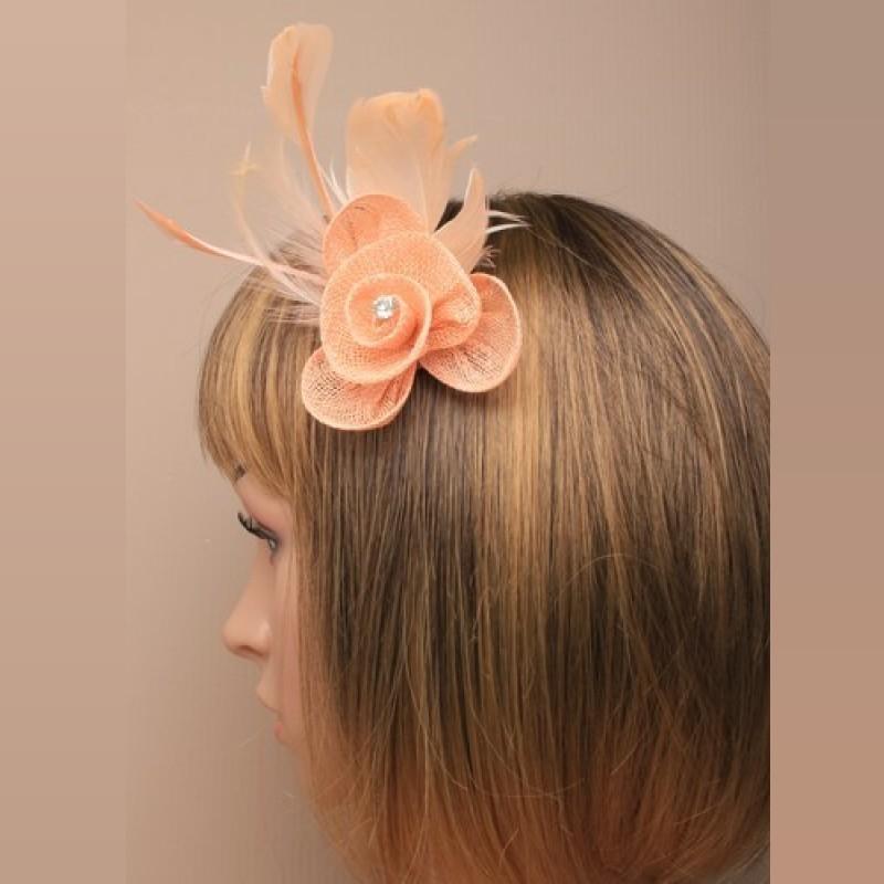 Chapeau mariage Petit accessoire de coiffure strass saumon peche