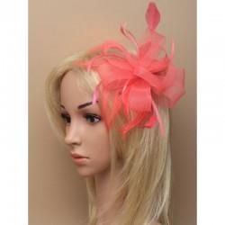 Chapeau mariage Accessoire de coiffure plume tulle corail