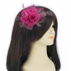 Chapeau mariage Fascinateur accessoire coiffure rose fuchsia