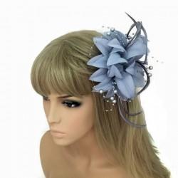Chapeau mariage Accessoire cheveux fleur gris perles