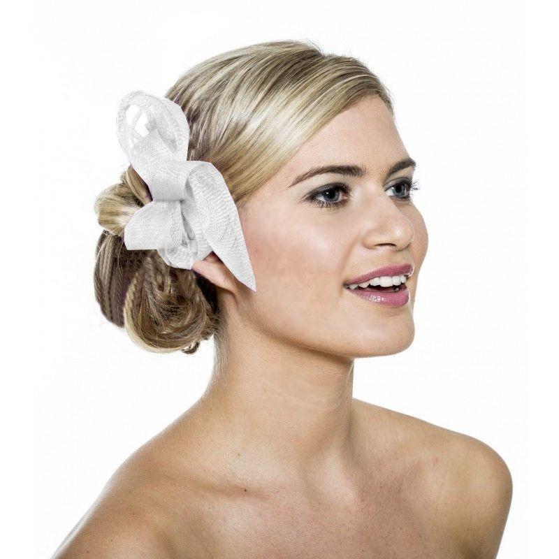 Chapeau mariage Accessoire coiffure en sisal blanc