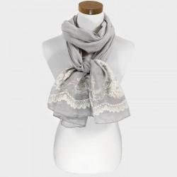 Foulard Etole grise broderie fleur ivoire