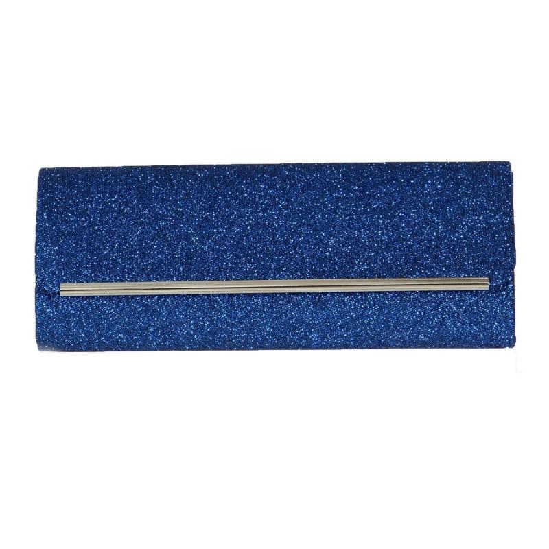 Pochette enveloppe bleu paillettes
