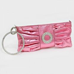 Sac pochette métallisé rose cristaux