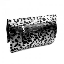 Sac pochette leopard noir blanc