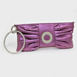 Sac pochette métallisé violet cristaux