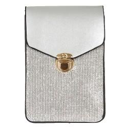 Pochette téléphone cristal argent