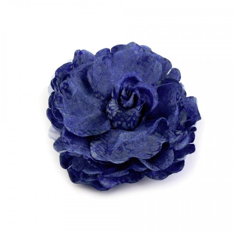 Broche ou fleur cheveux bleu 8 cm