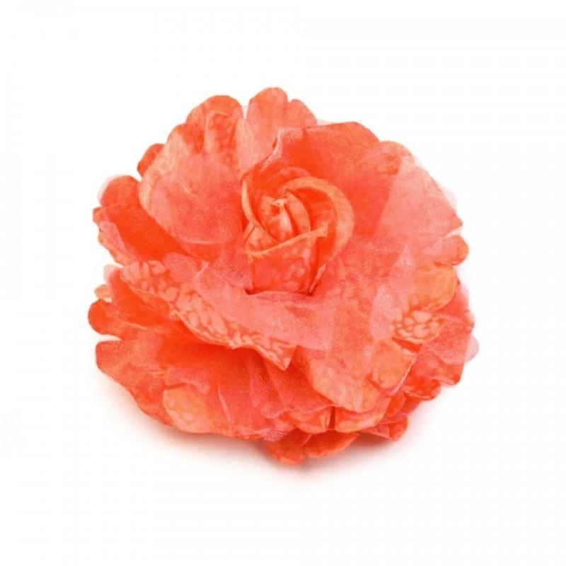 Broche ou fleur cheveux orange  8 cm