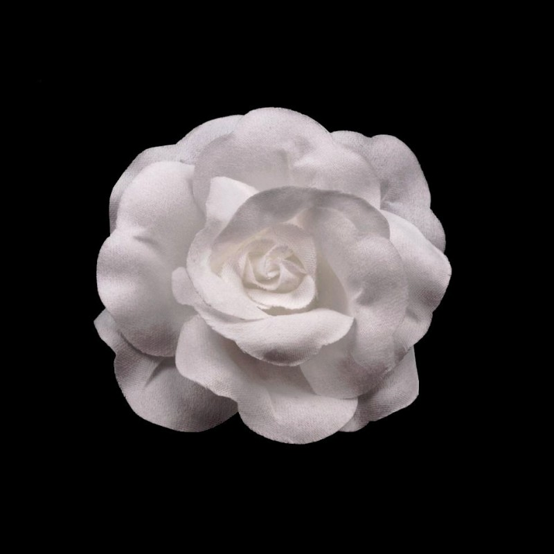 2 Fleur tissu blanc broche ou cheveux