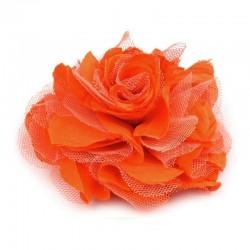 Grosse fleur cheveux ou broche orange
