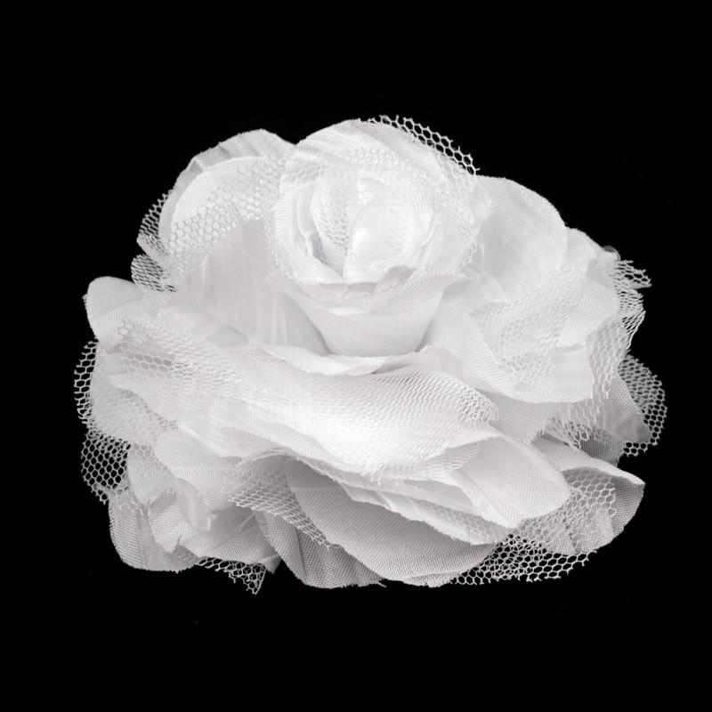 Grosse fleur cheveux ou broche blanc