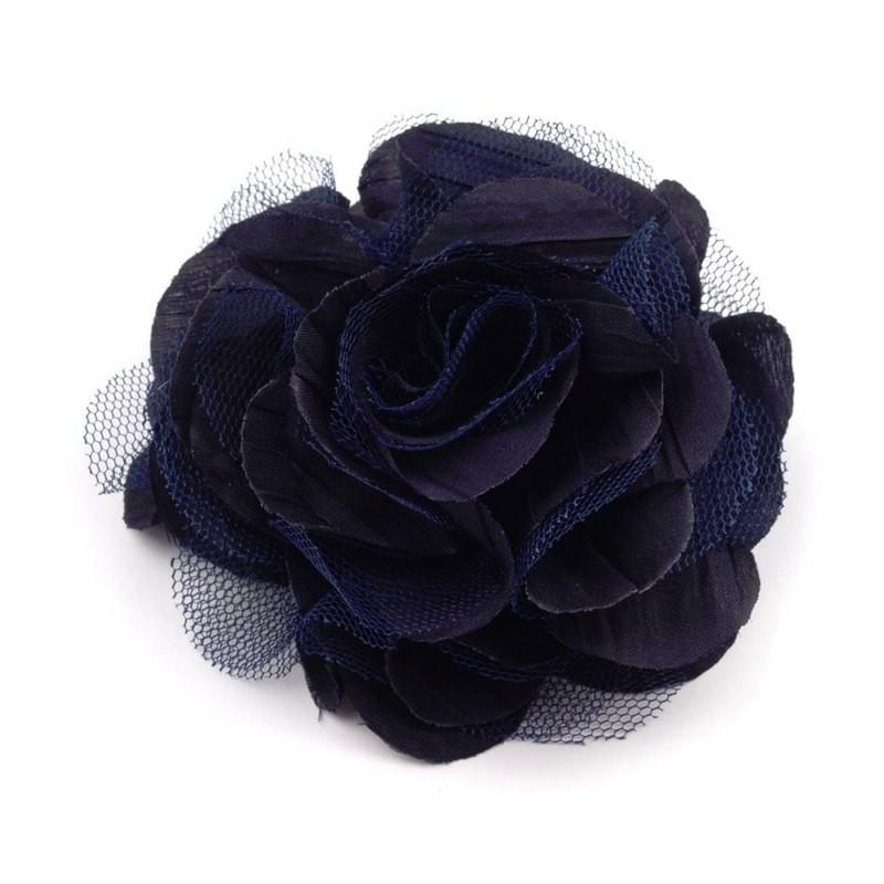 Grosse fleur cheveux ou broche bleu marine