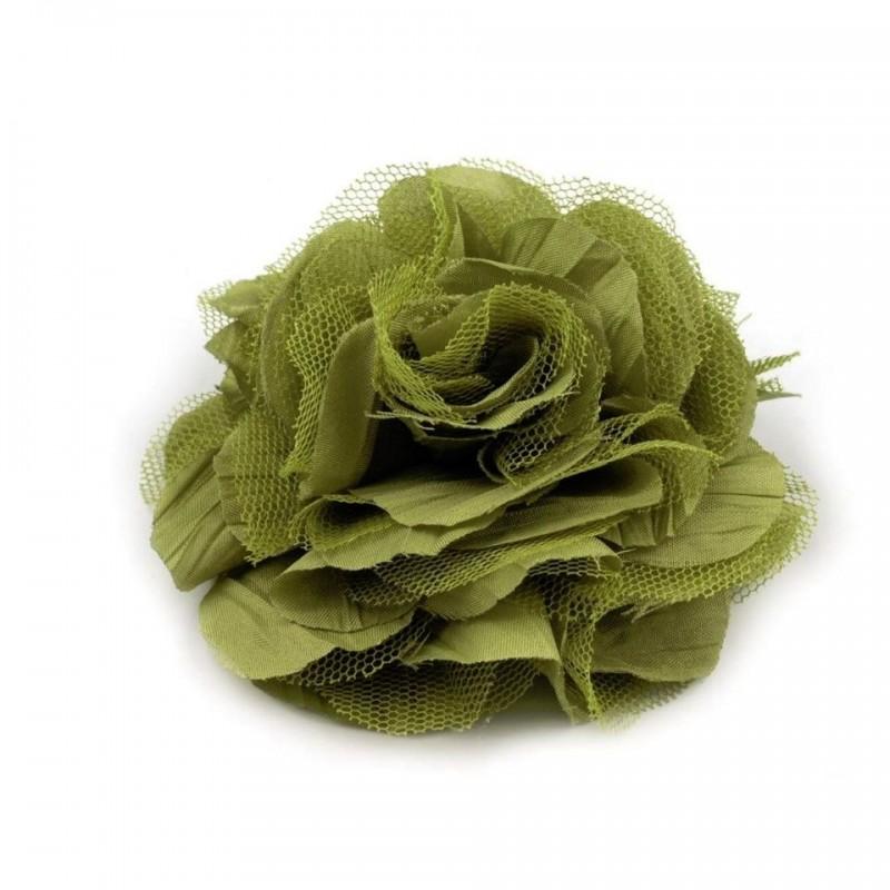 Grosse fleur cheveux ou broche vert kaki