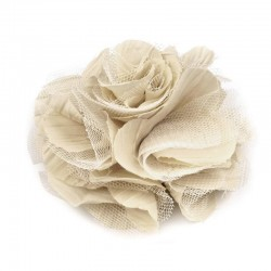 Grosse fleur cheveux ou broche beige ivoire