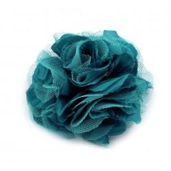 Grosse fleur cheveux ou broche bleu canard