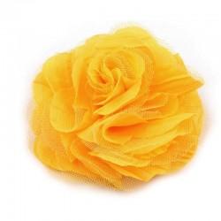 Grosse fleur cheveux ou broche jaune