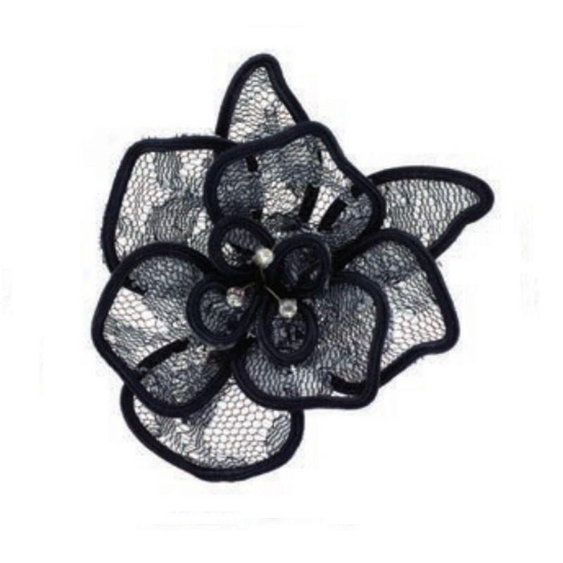 Fleur dentelle noire et cristal